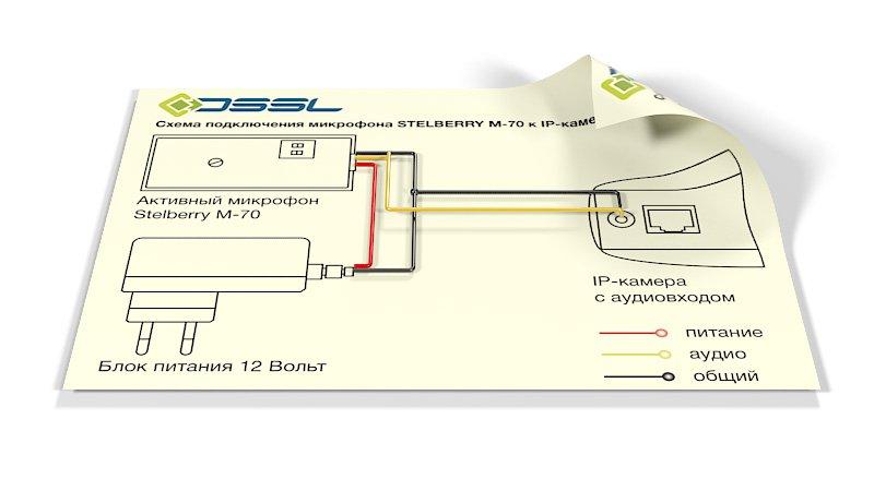 Схема подключения камеры и микрофона одним кабелем