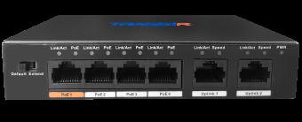 TRASSIR TR-NS1006-60-4POE. Неуправляемый PoE-коммутатор с 4 PoE-портами (до 250 м)